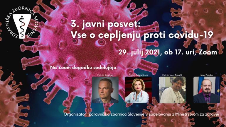 3. javni posvet: Vse o cepljenju proti covidu-19 – (o varnosti in učinkovitosti cepiv) – v četrtek, 29. julija, ob 17. uri – po Zoom