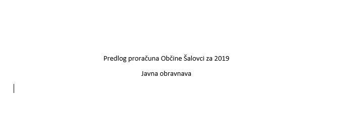 Proračun Občina Šalovci 2019
